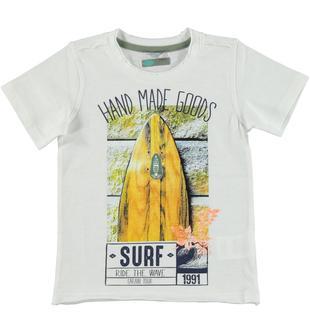 T-shirt in jersey malfilè 100% cotone con serigrafia ispirata al surf sarabanda BIANCO-0113