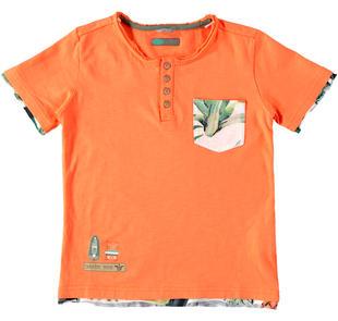 T-shirt in jersey malfilè 100% cotone con inserti tagliati a vivo sarabanda ARANCIO-1851