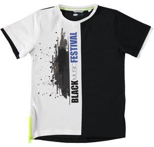 T-shirt oversize bicolore con serigrafia frontale sarabanda NERO-0658