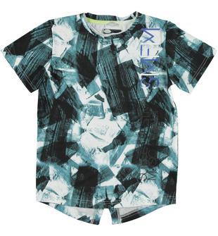 T-shirt oversize 100% cotone stampata all over con fantasia astratta sarabanda BIANCO-NERO-6U41