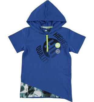 Felpa oversize in jersey 100% cotone decorata frontalmente sarabanda ROYAL-3735