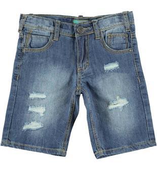 Pantaloncino in denim delavato e strappato sarabanda BLU LAVATO-7152