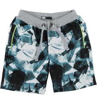 Pantaloncino in felpa leggera non garzata 100% cotone con fantasia astratta all over sarabanda BIANCO-NERO-6U41