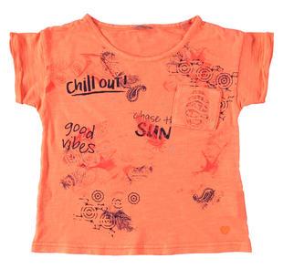 T-shirt super colorata in jersey malfilè 100% cotone sarabanda ARANCIO FLUO-5825
