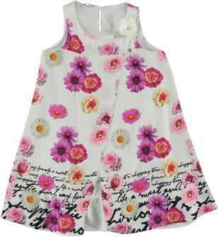 Vestitino in morbida e fluida tela di viscosa con fantasia floreale all over sarabanda PANNA-FIORI ROSA-6U47