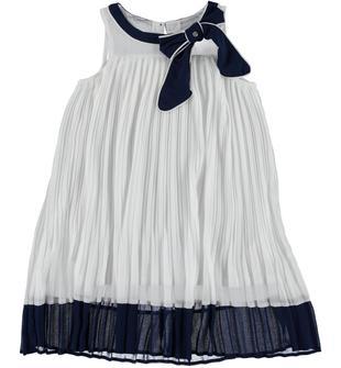 Vestito da cerimonia in voile plissettato sarabanda BIANCO-0113