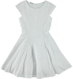 Elegante vestito in raffinato tessuto 100% cotone traforato sarabanda BIANCO-0113