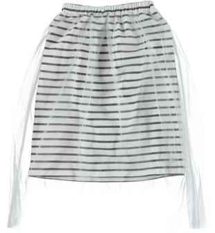 Gonna rigata in jersey stretch di cotone doppiata con tulle sarabanda BIANCO-0113