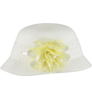 Delizioso cappellino di rafia impreziosito da fascia in pizzo sarabanda PANNA-0112