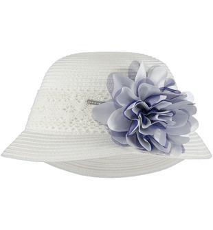 Delizioso cappellino di rafia impreziosito da fascia in pizzo sarabanda NAVY-3547
