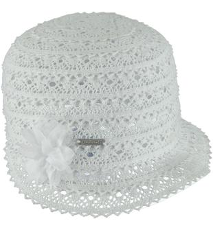 Cappellino modello borsalino in pizzo sarabanda BIANCO-0113