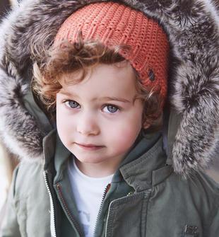 Cappello in tricot con pon pon per bambino sarabanda ARANCIO-2211