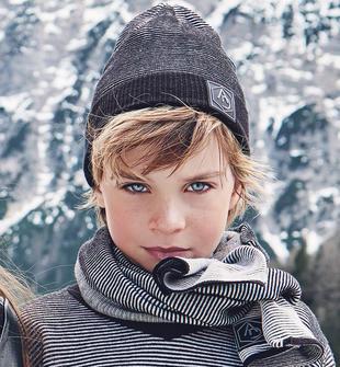 Cappellino modello cuffia in tricot filo bianco e nero sarabanda NERO-0658