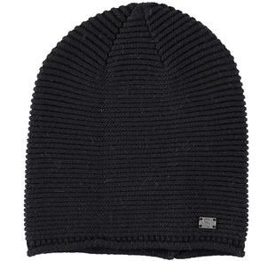 Cappello modello cuffia in tricot misto cotone lana sarabanda NERO-0658