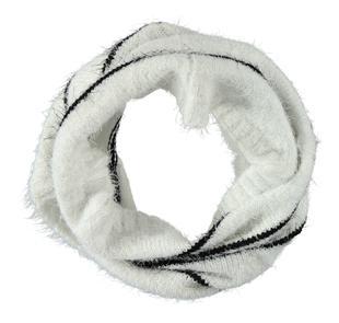 Scaldacollo tricot lurex effetto pelliccia a righe sarabanda PANNA-0112