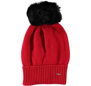 Cappello modello cuffia con pon pon sarabanda ROSSO-2253