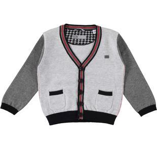 Cardigan con maniche a contrasto in tricot sarabanda GRIGIO MELANGE-8991
