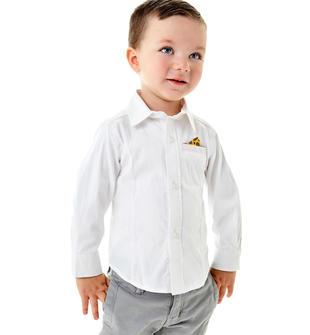 Camicia a manica lunga modello avvitato per bambino sarabanda BIANCO-0113