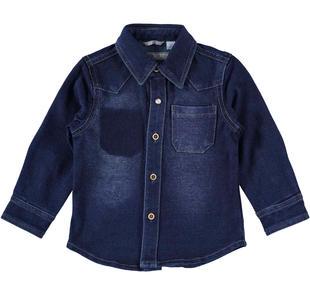 Camicia a manica lunga in jersey effetto denim sarabanda BLU-7750