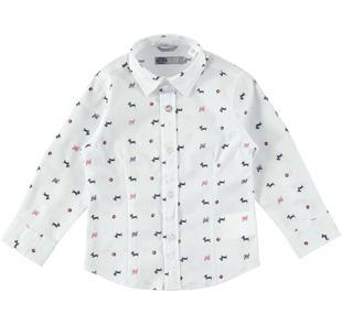 Camicia manica lunga stampa all over bassotti sarabanda BIANCO-NERO-6J08