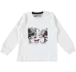 Maglietta girocollo 100% cotone stampa cagnolini e Londra sarabanda BIANCO-0113