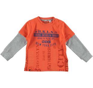 Maglietta girocollo con doppia manica 100% cotone sarabanda ARANCIO-2211