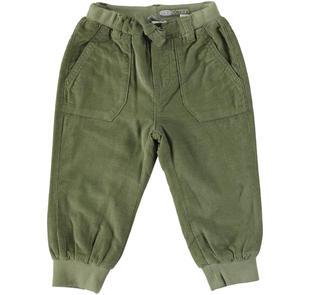Pantalone modello joggers in velluto 100% cotone sarabanda VERDE MILITARE-5554