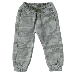 Pantalone in felpa pesante garzata con fantasia mimetica sarabanda GRIGIO-VERDE-6J26