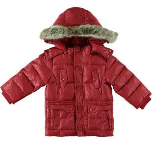 Piumino in vera piuma d'oca con cappuccio e pelliccia per bambino sarabanda ROSSO-2536