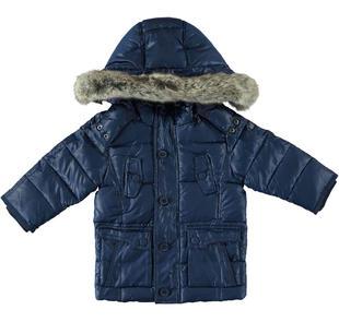 Piumino in vera piuma d'oca con cappuccio e pelliccia per bambino sarabanda NAVY-3856