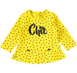 Maglietta fantasia piccoli pois e scritta glitter sarabanda GIALLO-NERO-6AM9