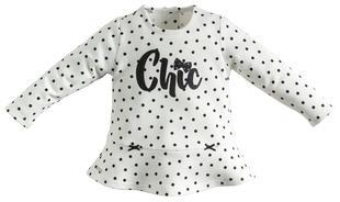 Maglietta fantasia piccoli pois e scritta glitter sarabanda PANNA-NERO-6J19