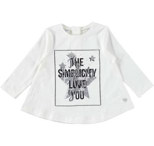 Maglietta fashion con glitter e strass sarabanda PANNA-0112