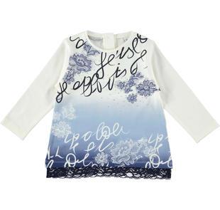 Elegante maxi maglietta con pizzo floreale sarabanda PANNA-0112