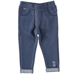 Pantalone modello jeggings con cuori sarabanda STONE WASHED-7450