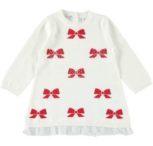 Mini abito in tricot con fiocchi e strass per bambina sarabanda PANNA-0112
