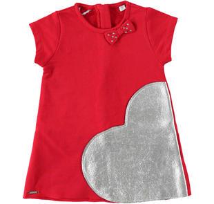 Mini abito a trapezio in felpa con cuore laminato sarabanda ROSSO-2253
