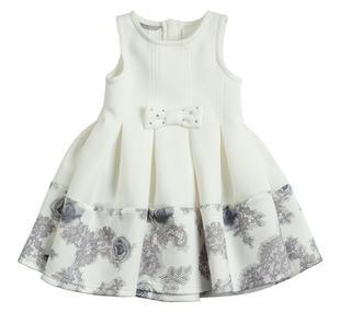 Vestitino smanicato bambina con gonna ricca di soffi sarabanda PANNA-GRIGIO-6J29