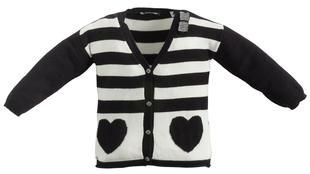 Cardigan in tricot fantasia righe e cuori sarabanda PANNA-0112