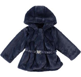 Eco pelliccia per bambina con cappuccio e cintura sarabanda NAVY-3854