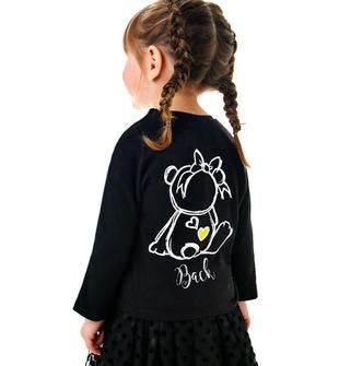 Completo maglietta e gonna in tulle con orsetto sarabanda NERO-0658