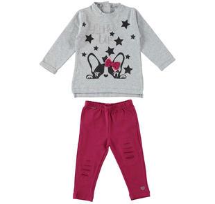 Completo maxi maglia e leggings con cagnolino e strass sarabanda BORDEAUX-2654
