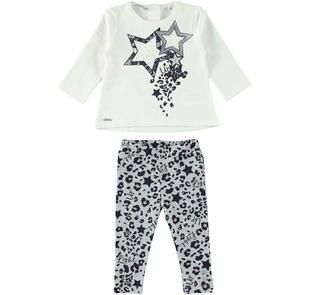 Completo maxi maglia con stelle e leggings maculato sarabanda GRIGIO MELANGE-NERO-6J20