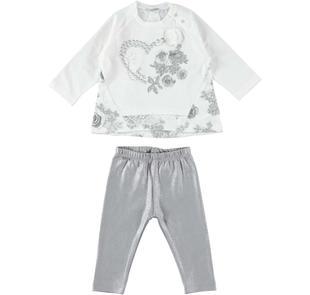 Elegante completo maxi maglia e leggings glitter sarabanda PANNA-0112