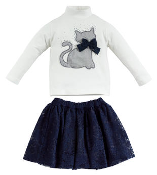 Completino bambina in cotone con elegante gatto sarabanda NAVY-3854