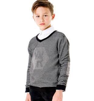 Maglia tricot scollo a v per bambino sarabanda NERO-0658