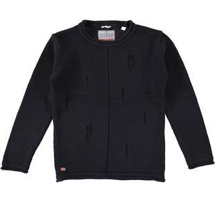 Maglia girocollo in tricot 100% cotone per bambino sarabanda NERO-0658