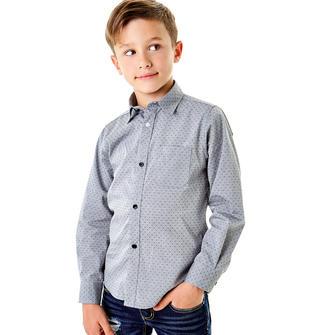 Camicia a manica lunga micro-pois per bambino sarabanda NERO-0658