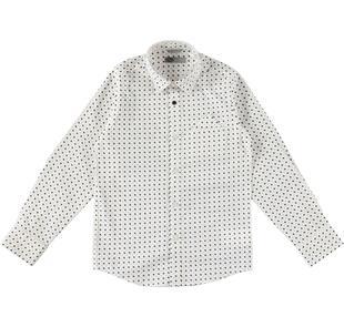 Camicia a manica lunga con fantasia geometrica sarabanda BIANCO-NERO-ROSSO-6J06