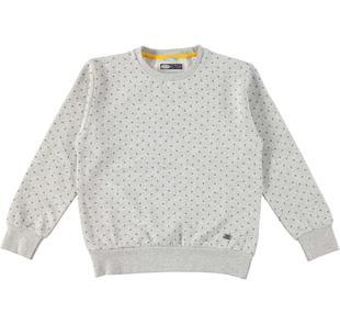 Maglietta girocollo in felpa con fantasia geometrica sarabanda GRIGIO MELANGE-BLU-6AL9